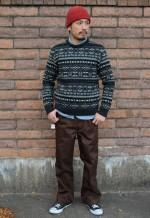 COOTIE クーティ Jacquard Knit Sweater ニットセーターのコーデブログ