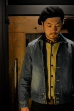 "CALEE/キャリー DENIM COSACK JACKET ""USED"" とL/S ALLOVER PATTERN CORDUROY SHIRT"