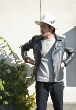 ライダースジャケット+スキニーデニム+ハット=GOOD