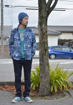 COOTIE Patcwork Printed Flannel L/S Work Shirt&5 Pocket Skinny Work Trouser