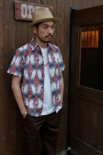 CALEE / キャリー S/S OLD BLANKET ALLOVER PATTERN SHIRTの着こなしブログ